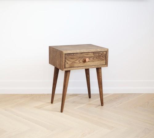 Ąžuolinė lovos spintelė/staliukas dūminė spalva NORD 02  (NO-02-ES)