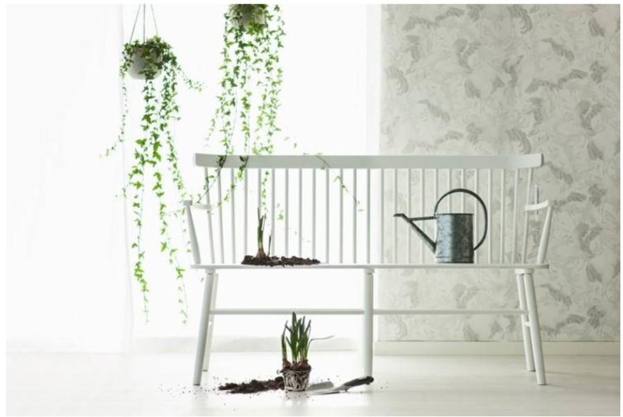 SCAND baltas beržinis krėslas/suolas